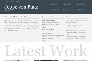 Portfolio of philosophy professor Jeppe von Platz